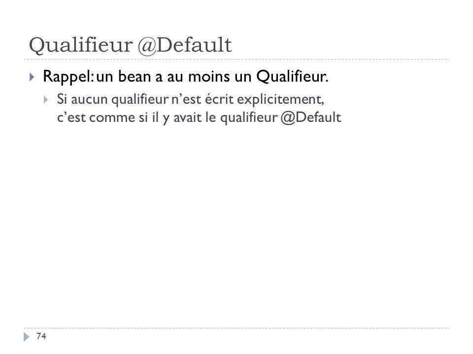 Qualifieur @Default Rappel: un bean a au moins un Qualifieur.