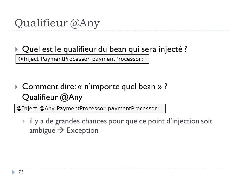 Qualifieur @Any Quel est le qualifieur du bean qui sera injecté