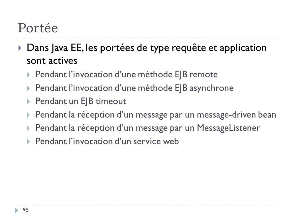 Portée Dans Java EE, les portées de type requête et application sont actives. Pendant l'invocation d'une méthode EJB remote.