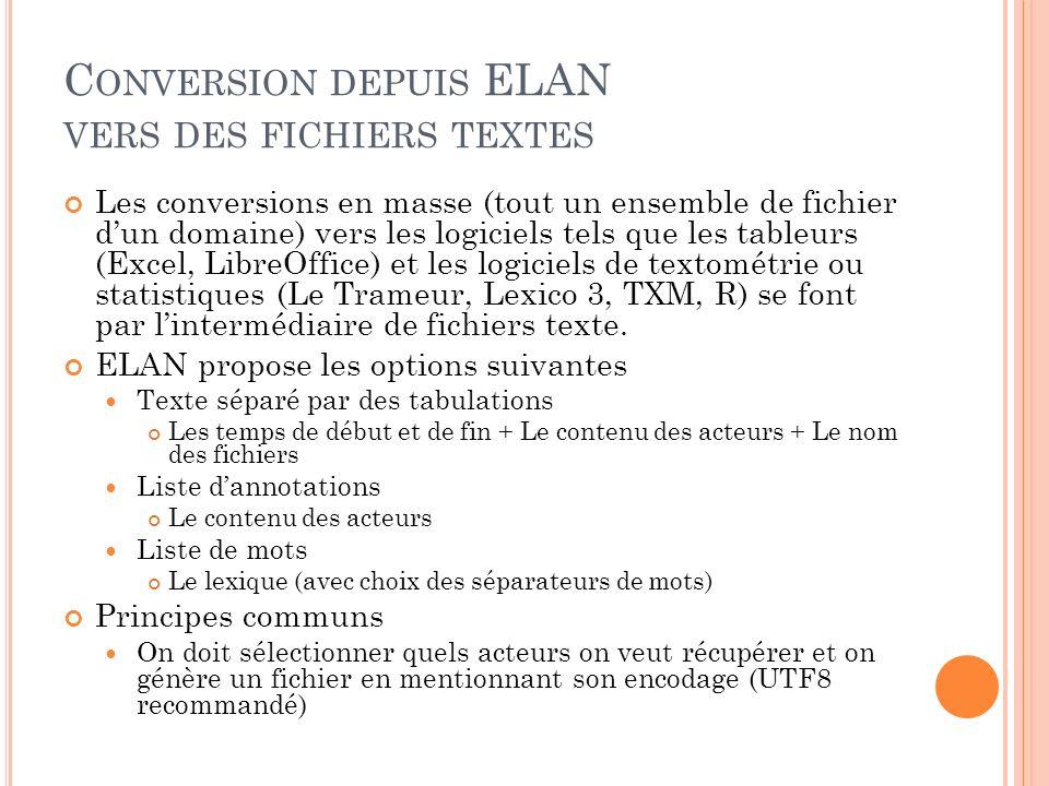 Conversion depuis ELAN vers des fichiers textes