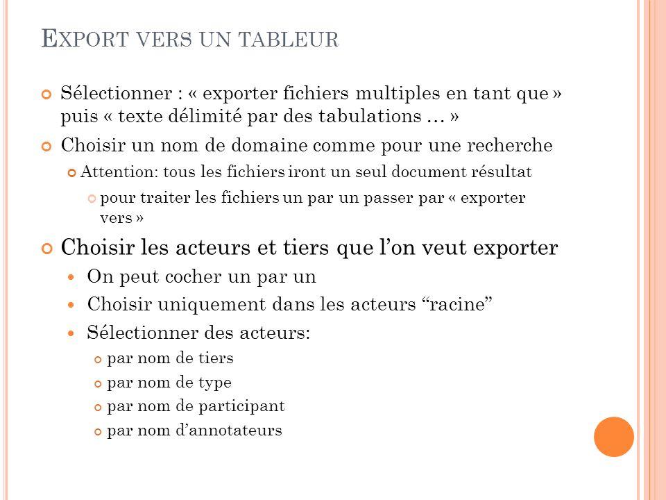 Export vers un tableur Sélectionner : « exporter fichiers multiples en tant que » puis « texte délimité par des tabulations … »