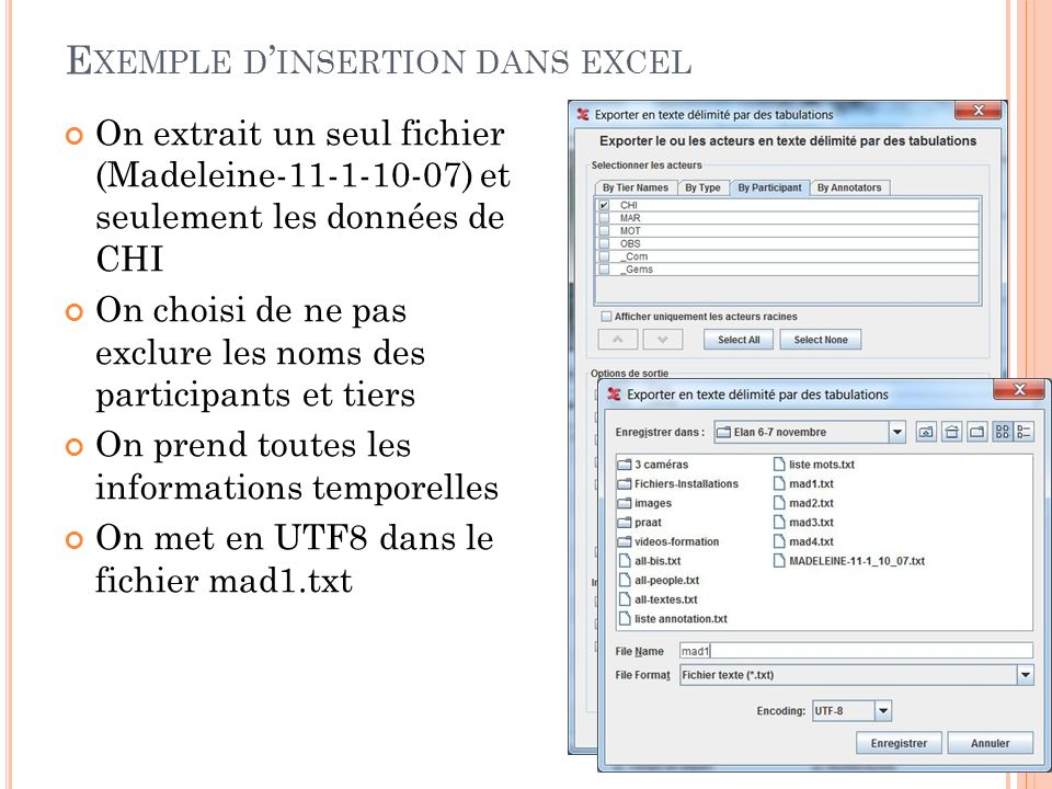 Exemple d'insertion dans excel