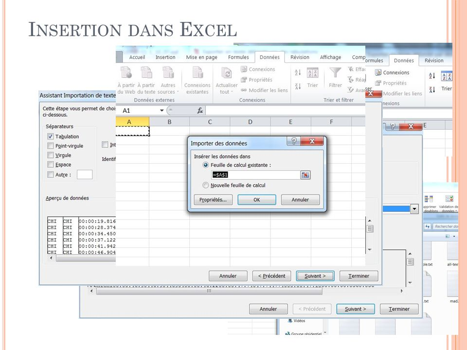 Insertion dans Excel