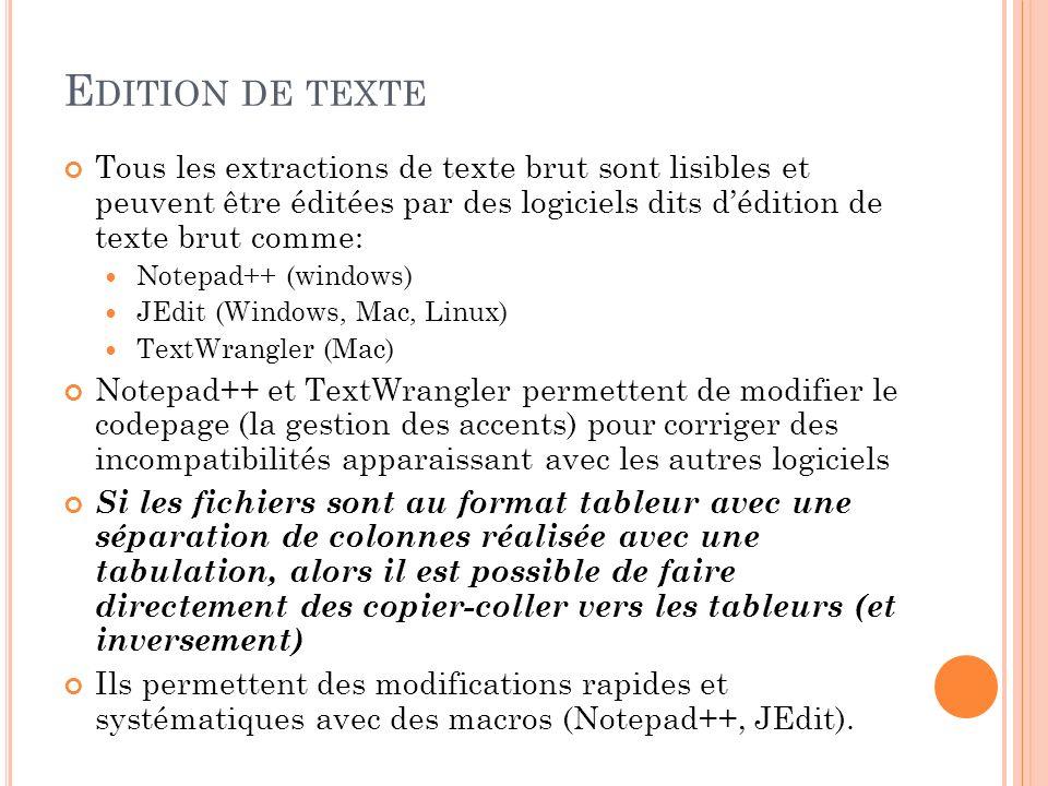 Edition de texte Tous les extractions de texte brut sont lisibles et peuvent être éditées par des logiciels dits d'édition de texte brut comme: