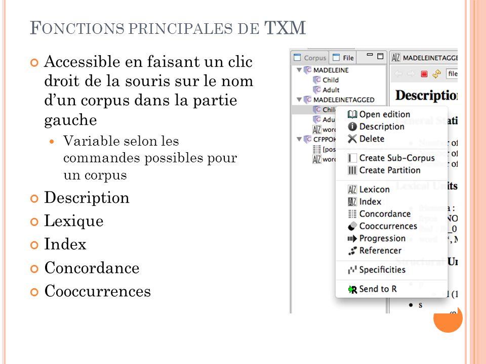 Fonctions principales de TXM