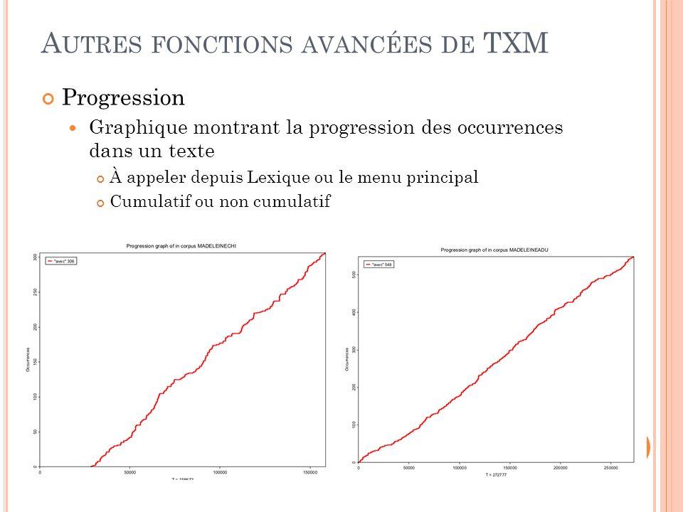 Autres fonctions avancées de TXM