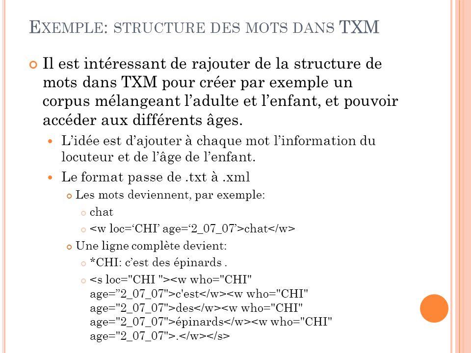 Exemple: structure des mots dans TXM