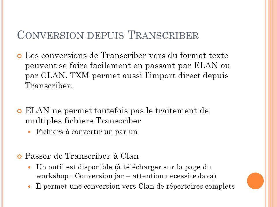 Conversion depuis Transcriber