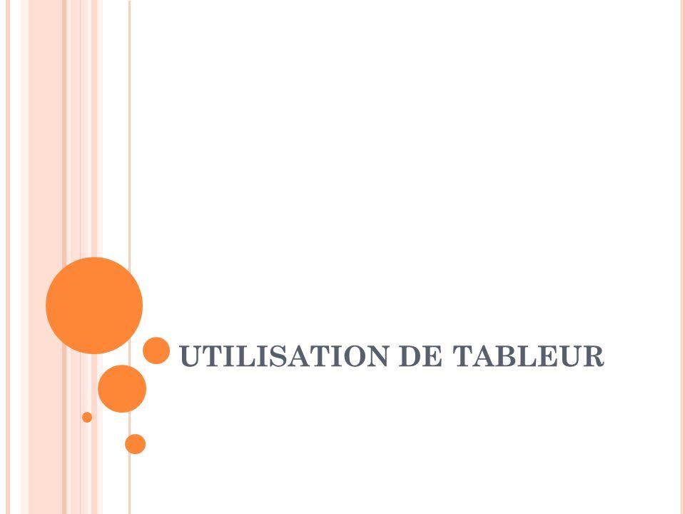 UTILISATION DE TABLEUR