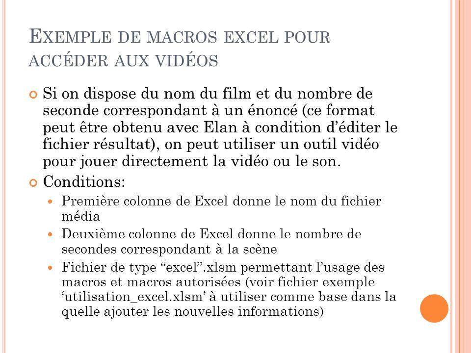 Exemple de macros excel pour accéder aux vidéos