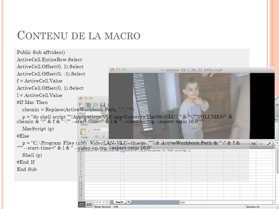 Contenu de la macro Public Sub affvideo() ActiveCell.EntireRow.Select