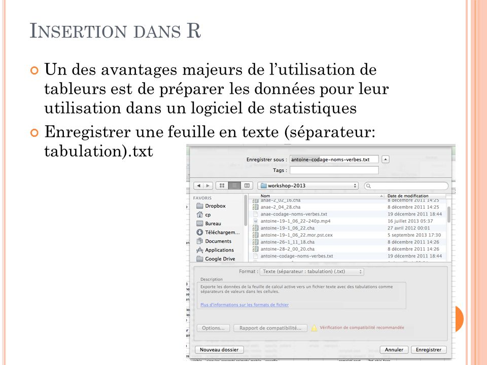 Insertion dans R