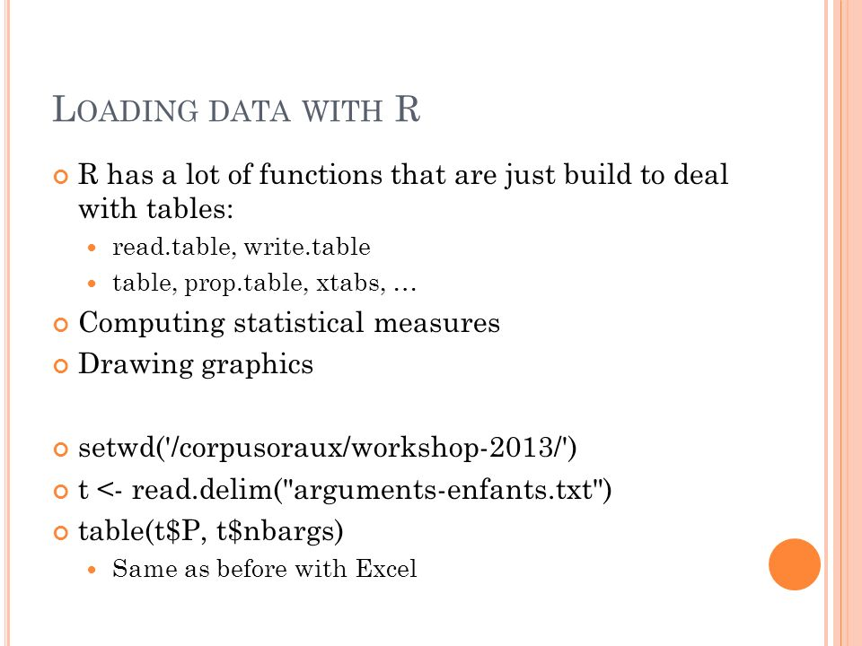 Loading data with R R has a lot of functions that are just build to deal with tables: read.table, write.table.