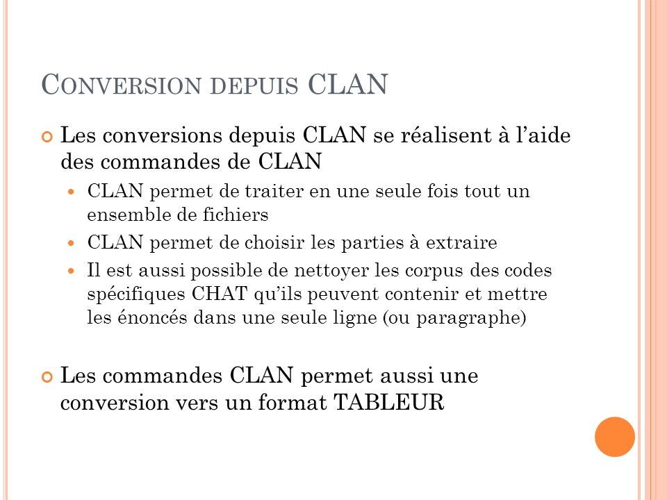 Conversion depuis CLAN