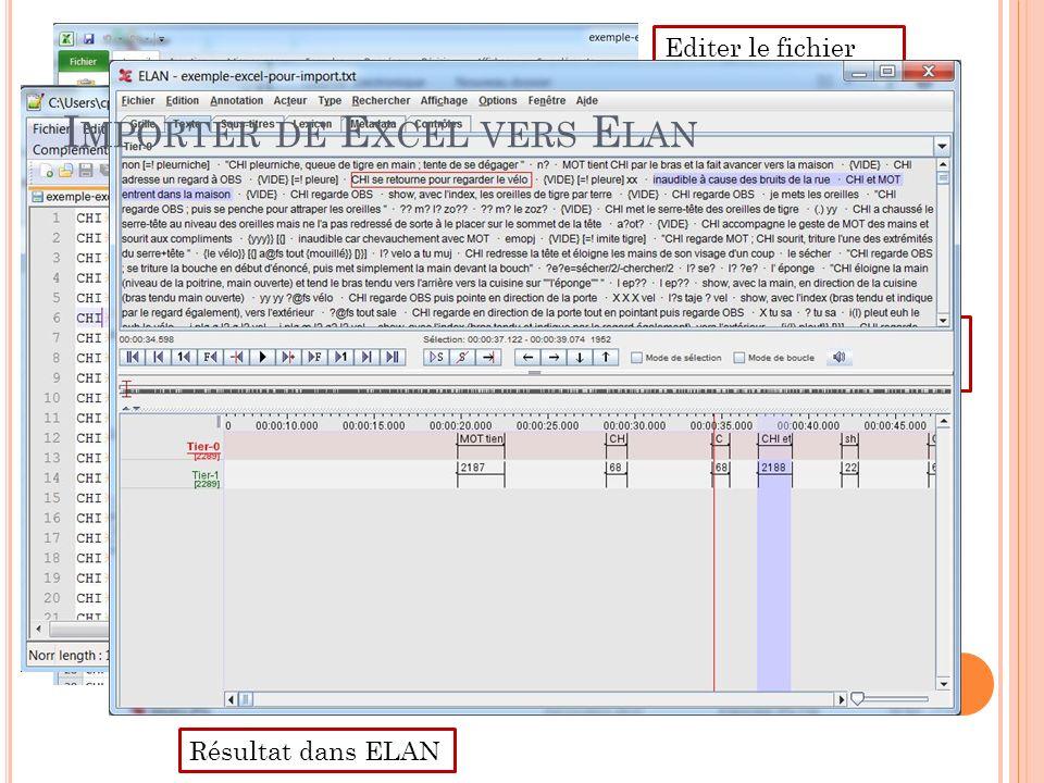 Importer de Excel vers Elan