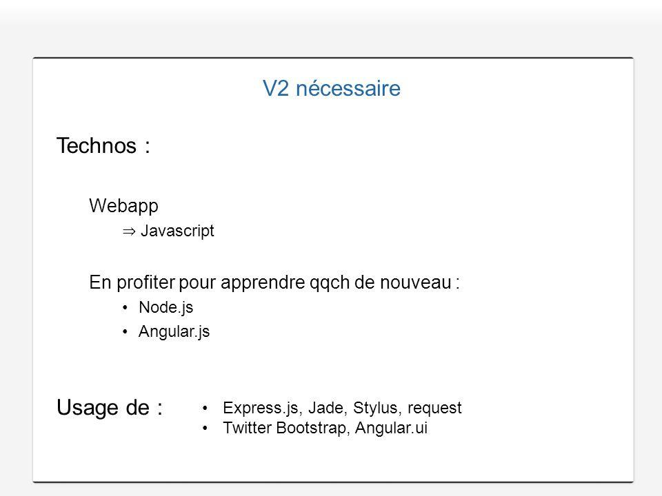 V2 nécessaire Technos : Usage de : Webapp