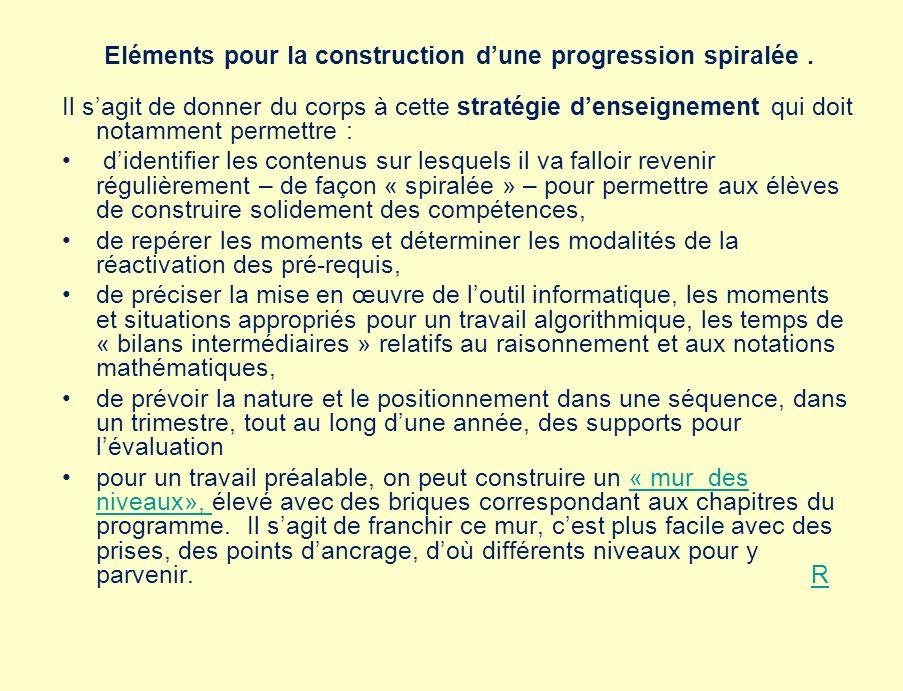 Eléments pour la construction d'une progression spiralée .