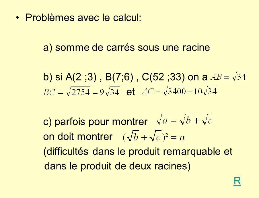Problèmes avec le calcul: