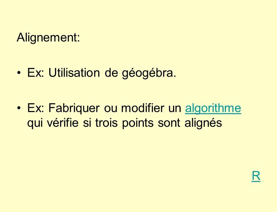 Ex: Utilisation de géogébra.