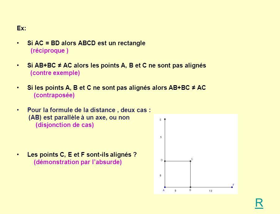 R Ex: Si AC = BD alors ABCD est un rectangle (réciproque )