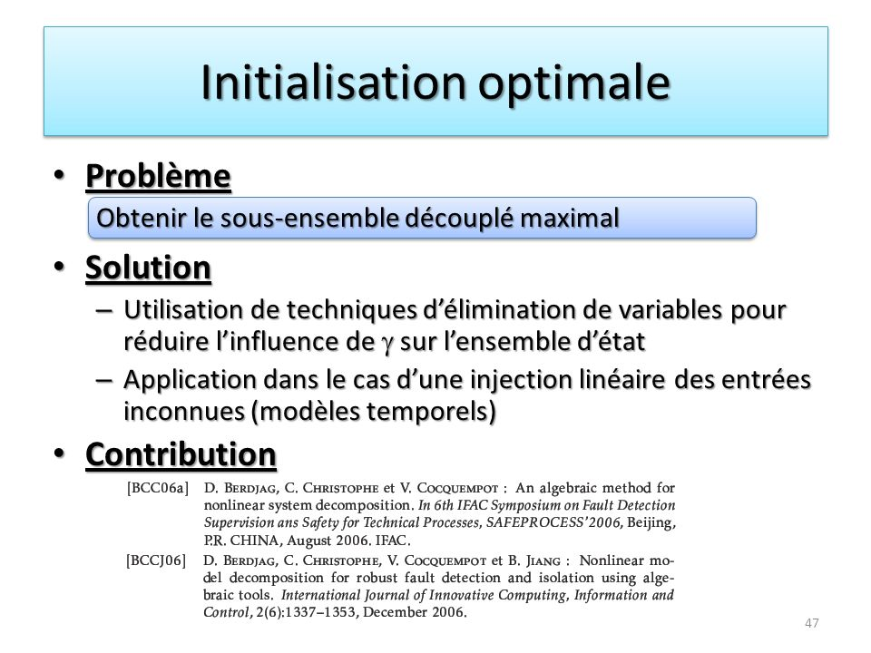 Initialisation optimale
