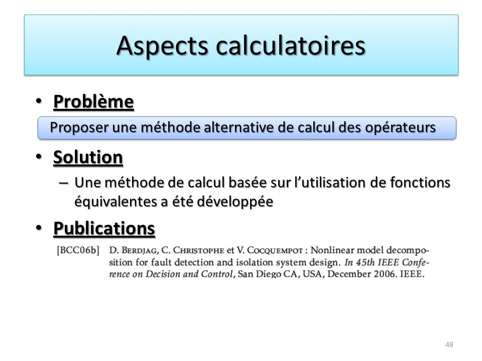 Aspects calculatoires