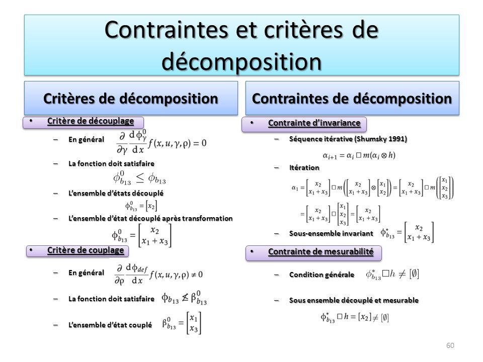 Contraintes et critères de décomposition