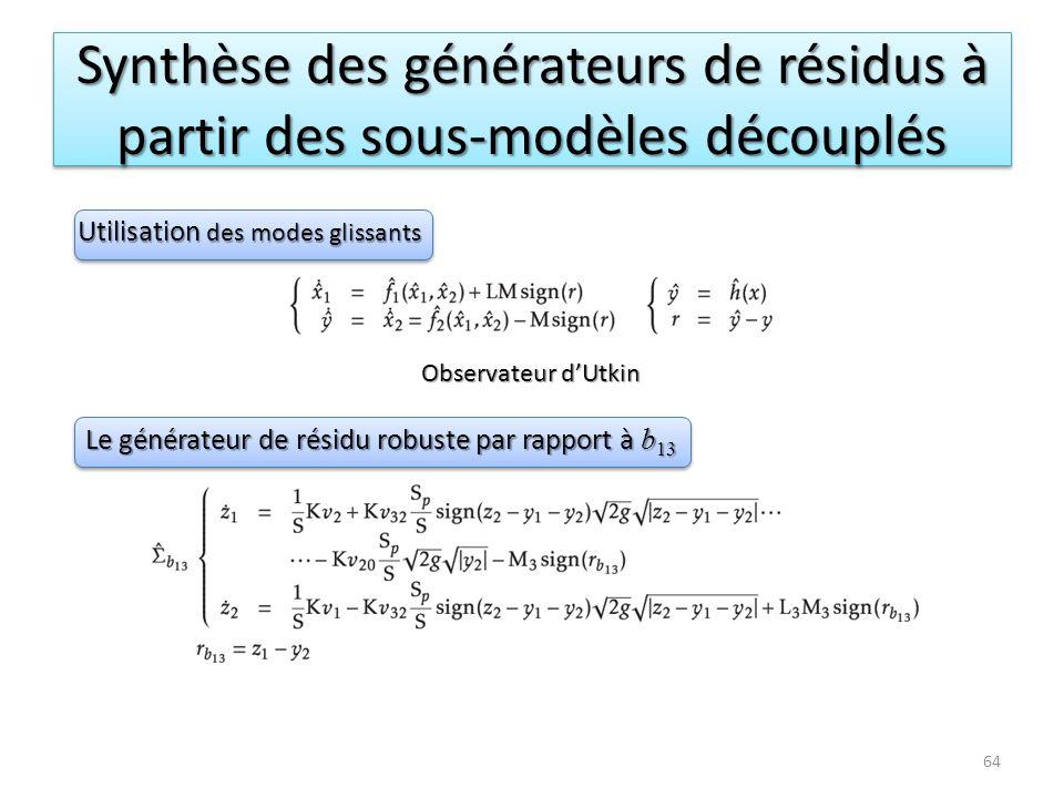 Synthèse des générateurs de résidus à partir des sous-modèles découplés