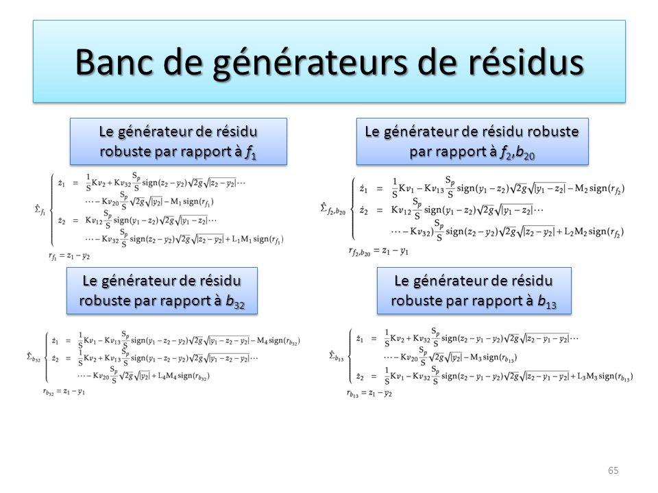Banc de générateurs de résidus