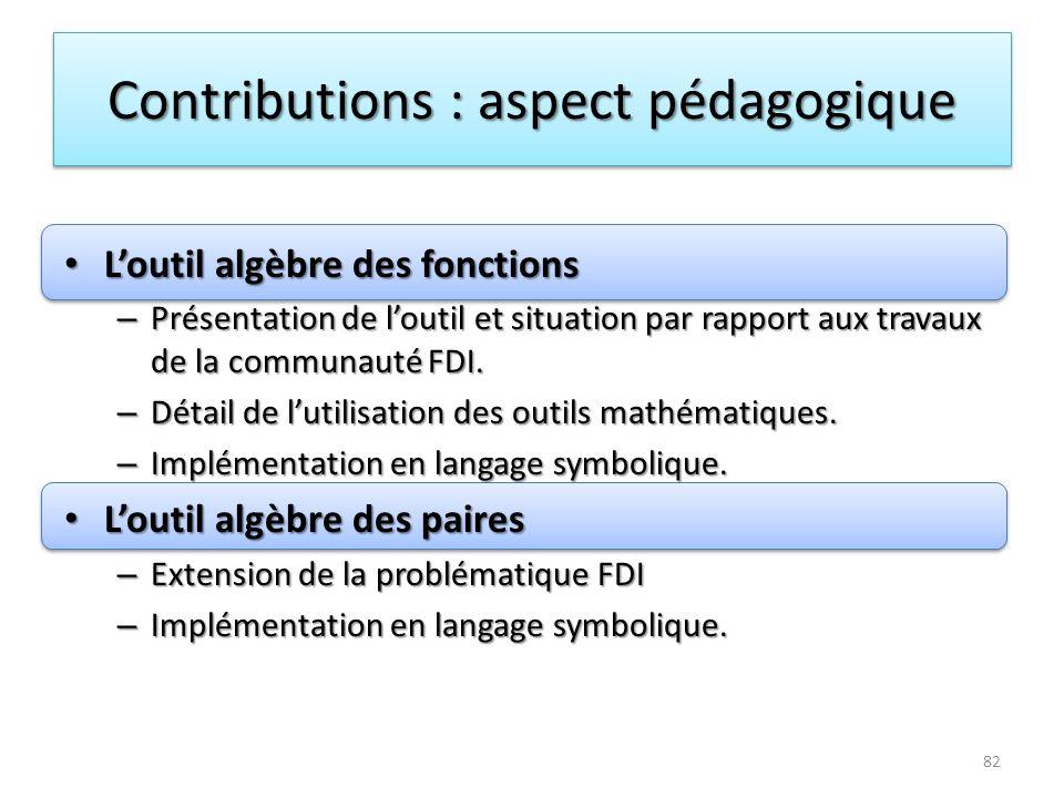 Contributions : aspect pédagogique
