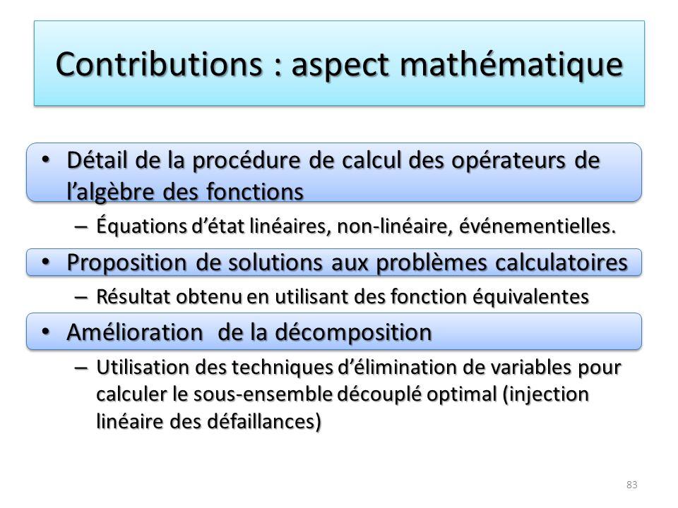 Contributions : aspect mathématique
