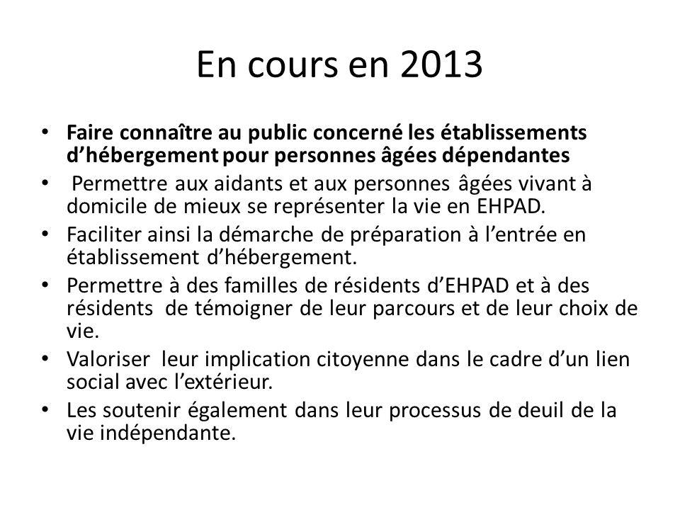 En cours en 2013 Faire connaître au public concerné les établissements d'hébergement pour personnes âgées dépendantes.