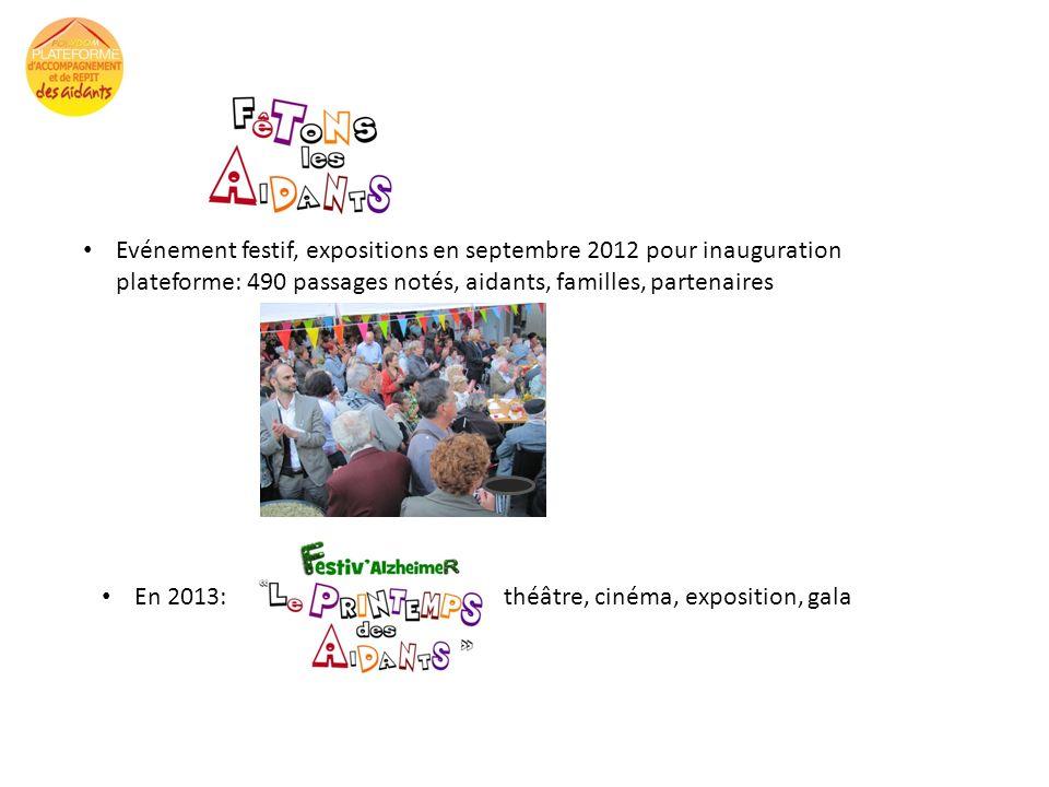 Evénement festif, expositions en septembre 2012 pour inauguration plateforme: 490 passages notés, aidants, familles, partenaires