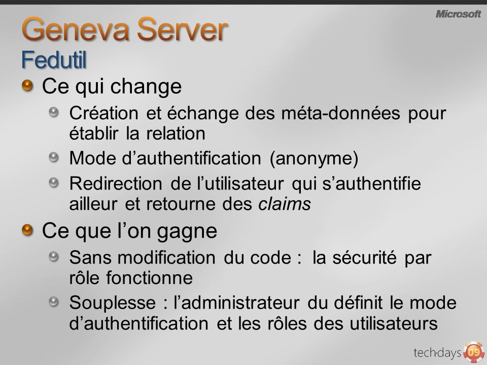 Geneva Server Fedutil Ce qui change Ce que l'on gagne