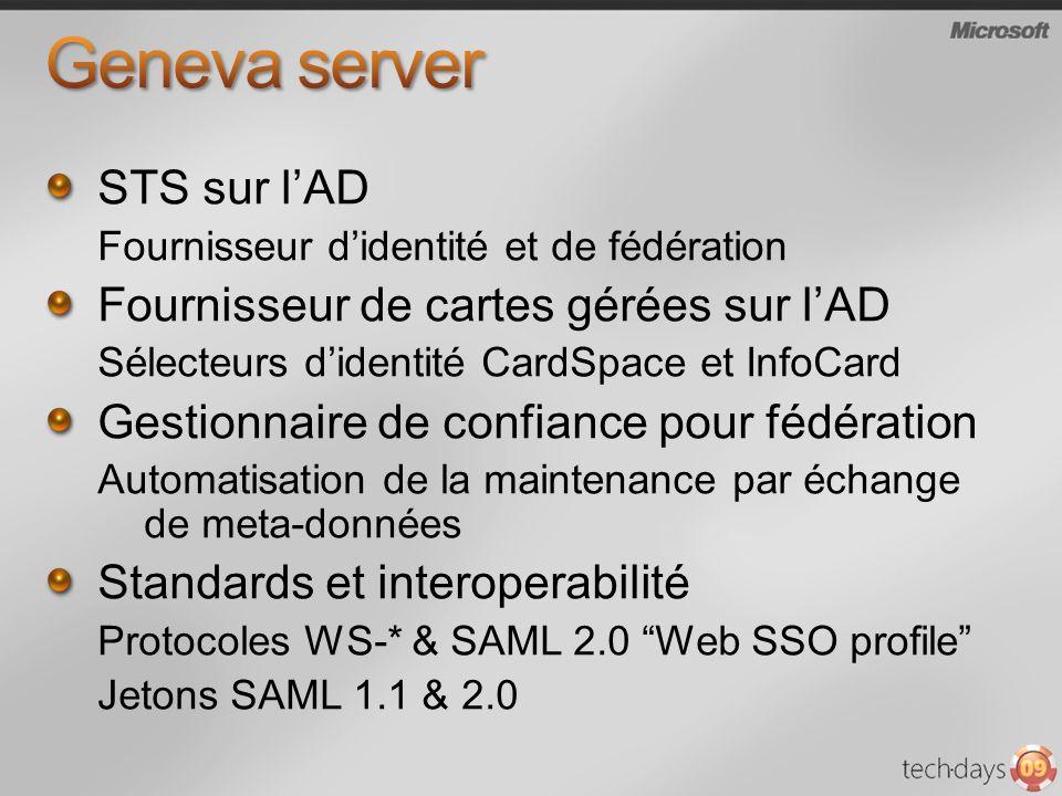 Geneva server STS sur l'AD Fournisseur de cartes gérées sur l'AD