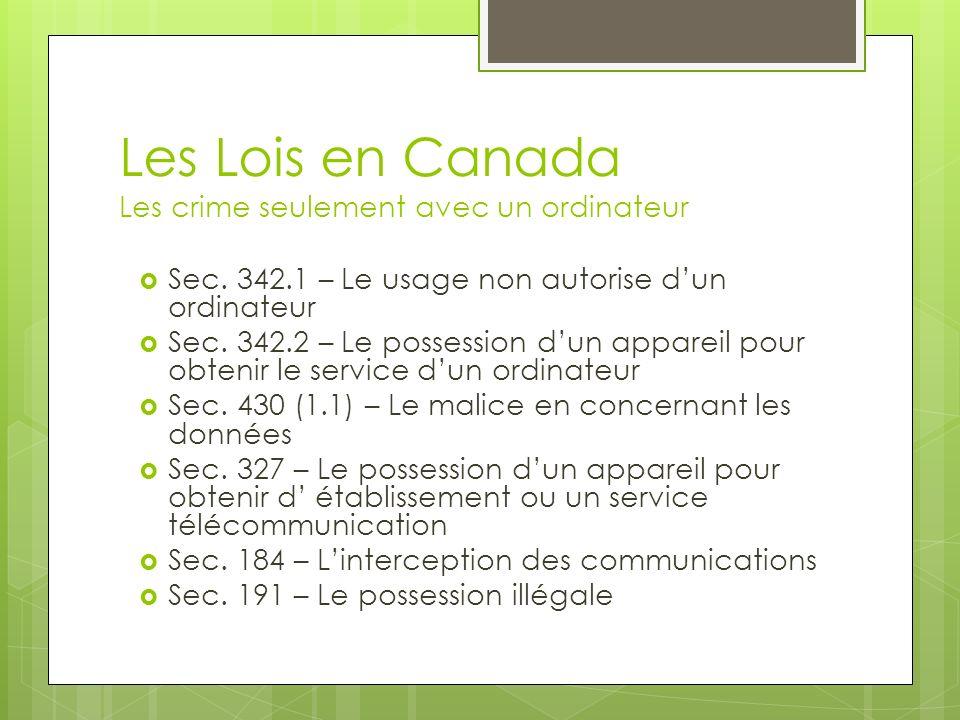Les Lois en Canada Les crime seulement avec un ordinateur