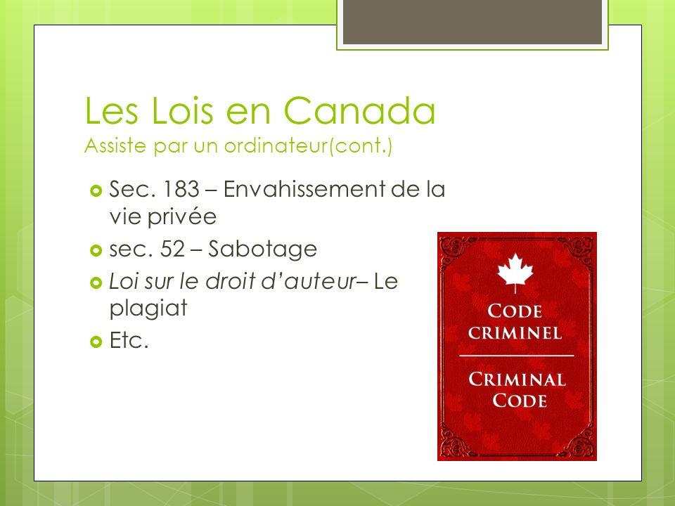 Les Lois en Canada Assiste par un ordinateur(cont.)