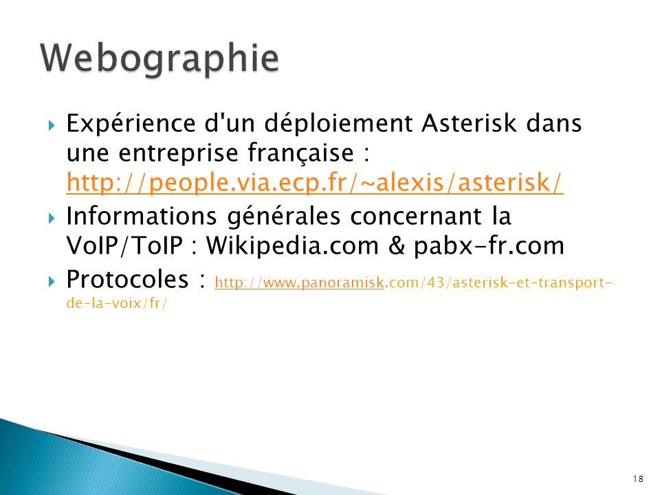 Webographie Expérience d un déploiement Asterisk dans une entreprise française : http://people.via.ecp.fr/~alexis/asterisk/