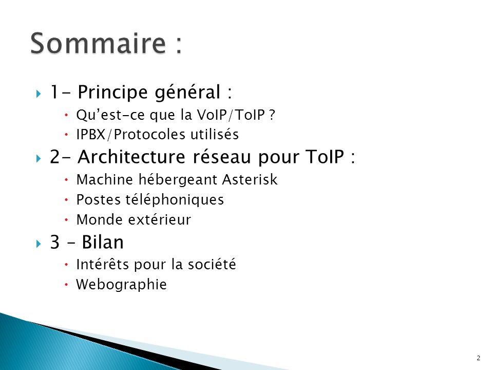 Sommaire : 1- Principe général : 2- Architecture réseau pour ToIP :