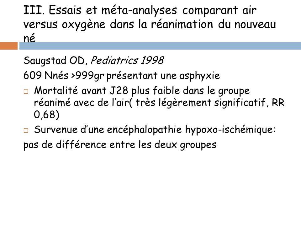 III. Essais et méta-analyses comparant air versus oxygène dans la réanimation du nouveau né