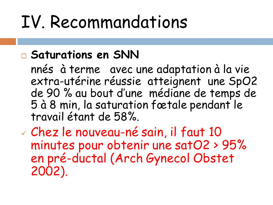 IV. Recommandations Saturations en SNN.
