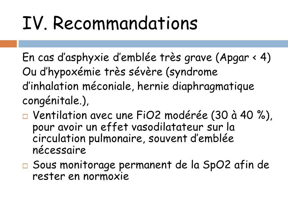 IV. Recommandations En cas d'asphyxie d'emblée très grave (Apgar < 4) Ou d'hypoxémie très sévère (syndrome.