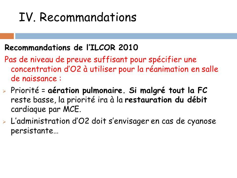 IV. Recommandations Recommandations de l'ILCOR 2010