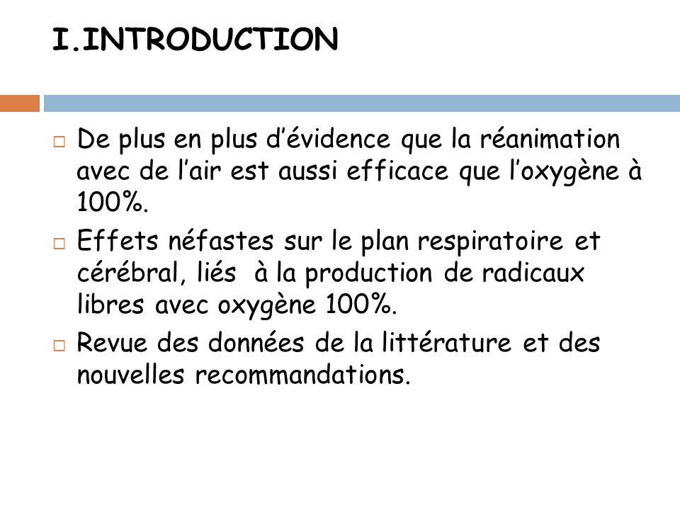 I.INTRODUCTION De plus en plus d'évidence que la réanimation avec de l'air est aussi efficace que l'oxygène à 100%.