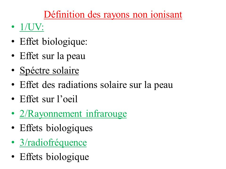 Définition des rayons non ionisant