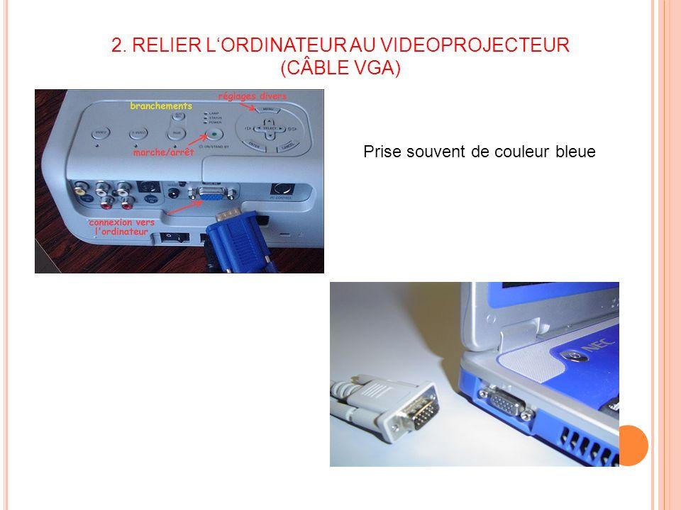 2. RELIER L'ORDINATEUR AU VIDEOPROJECTEUR