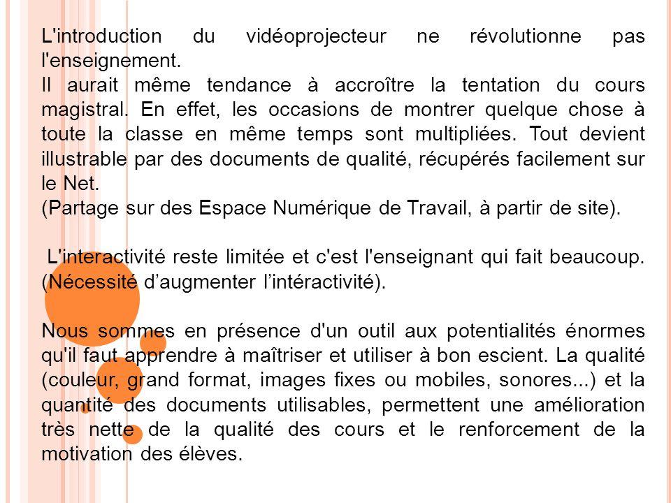 L introduction du vidéoprojecteur ne révolutionne pas l enseignement.