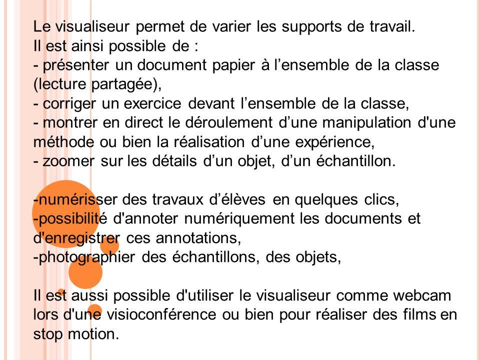 Le visualiseur permet de varier les supports de travail.