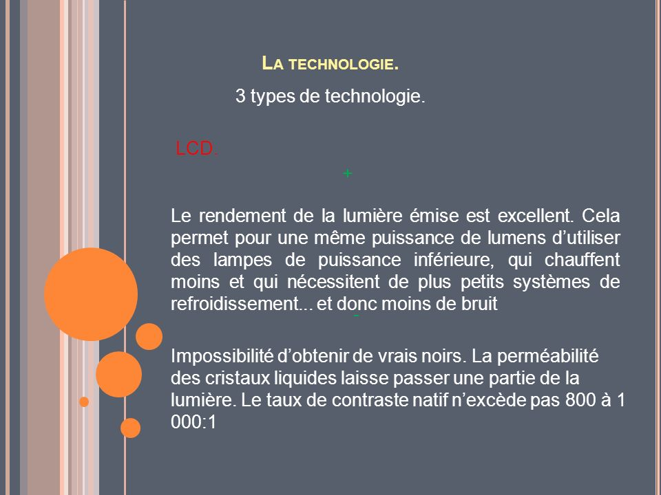 La technologie. 3 types de technologie. LCD. +