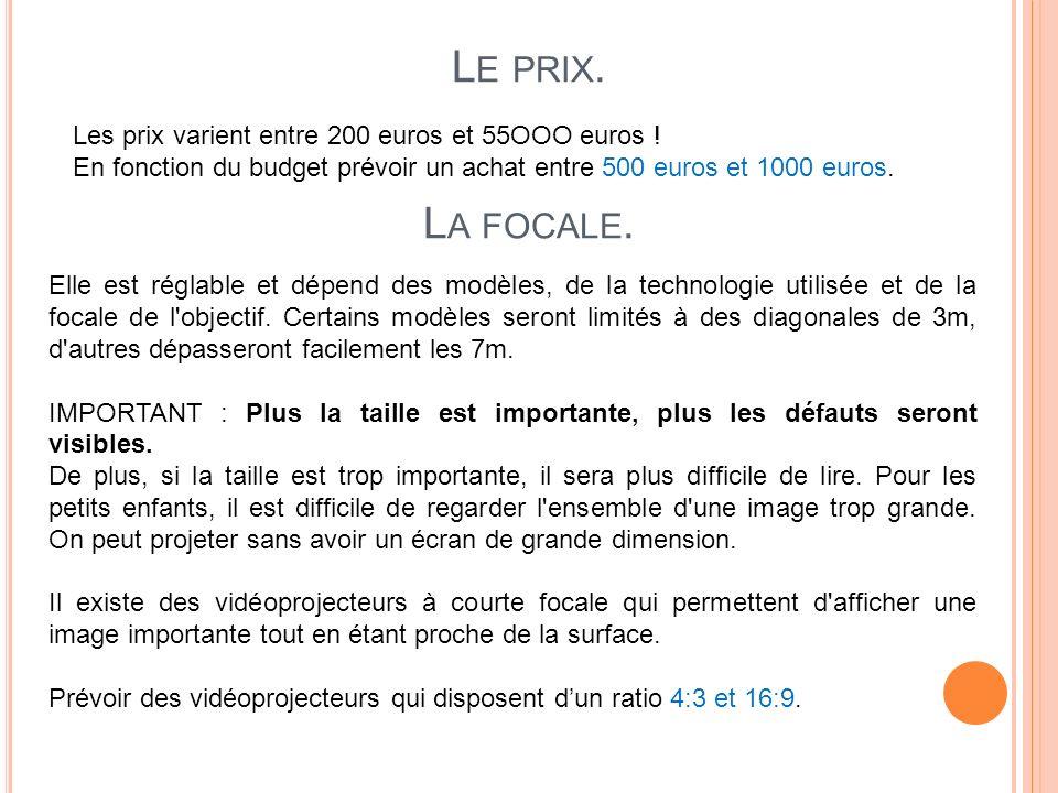 Le prix. La focale. Les prix varient entre 200 euros et 55OOO euros !